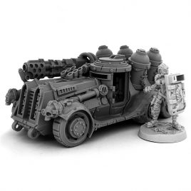 HERESY HUNTER FEMALE ARBITRATOR WITH FLAMER CAR
